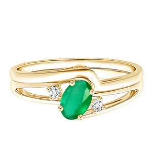 Split Shank Emerald Engagement Ring with Wedding Band 9k Yellow Gold Ring