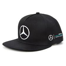 2017 UFFICIALE F1 Mercedes AMG LEWIS HAMILTON Da Uomo Orlo Piatto PEAK CAP NERO -- NUOVO