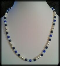 Vintage 925 Sterling Silver, Pearl, Moonstone, Lapis & Kyanite Beaded Necklace