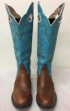 Womens Tony Lama Turquoise/Brwn Western Boots 10B
