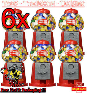 6 x Gumball Vending Machine Gum Dispenser Toy Coin Bank 80g Bubble Gum Included