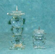 2 Vtg European Pin Style Round Prism Candle Holders, Silver Crystal & Swarovski