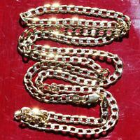 """10k multi tone gold Cuban link necklace 24.0"""" diamond cut chain vintage 4.9gr"""
