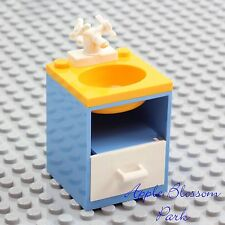 NEW Lego Belville BATHROOM SINK Medium Blue w/White Faucet Tap Yellow Basin RARE