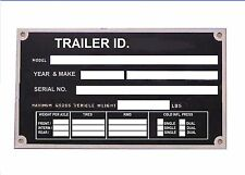 NEW REPLACEMENT TRAILER  BOAT CAR FLAT BED HORSE BOX  INFO PLATE  ID