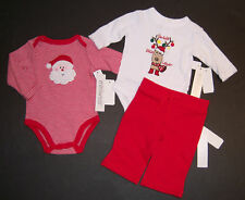 NWT Miniwear 0-3 Months Holiday Santa & Reindeer Bodysuits & Red Pants