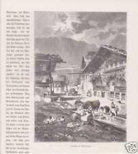 Meiringen Interlaken-Oberhasli Schweiz HOLZSTICHE 1880