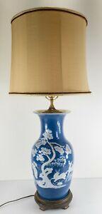 Antique Chinese Powder Blue Pate-Sur-Pate Vase Table Lamp Deer Crane Pine