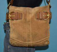 COACH N/S Crossbody Tan Brown Suede Leather Hobo Shoulder Buckle Purse Bag 1483