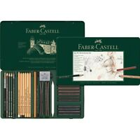 #112977 Faber Castell Tin of 33 Pitt Monochrome Pencils Set Artists Collection