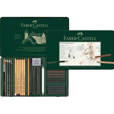 #112977 Faber Castell Tin of 33 Pitt Monochrome Pencils Set Artists Collection