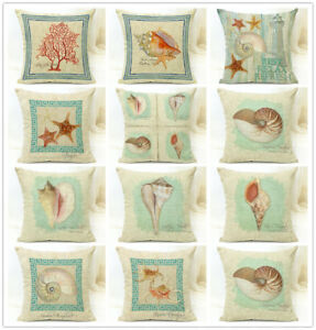 Vintage Shabby Chic Wood Coral Lighthouse Seashell Seahorse Conch Cushion Covers
