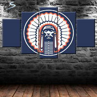 ILLINOIS FIGHTING ILLINI Blue Chief Illiniwek Indian NCAA 5 Piece Canvas Print