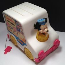 Vintage Disney Mickey Mouse Toy Ice Cream Musical Truck Van Figure w Donald Duck