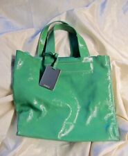 FURLA GREEN PATENT LEATHER SMALL TOTE BAG ZIPPERED LARGE POCKET