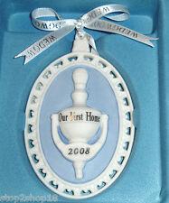 Wedgwood Our First Home Door Knocker Ornament 2008 Blue/White Jasperware New