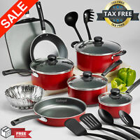 Cookware Set Of Pots And Pans Large Cooking 18-Piece Professional Non Stick|Red|