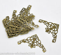 50PCS Wholesale Craft Bronze Tone Filigree Triangle Wraps Connectors Findings 50