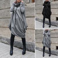 ZANZEA Femme Manteau Chaud Loose Manche Longue Col Haut Asymétrique Robe Plus