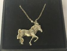 "Galloping Horse GT60 Pewter On 20"" Silver Plated Curb Necklace"
