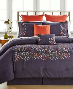 Ellison First Asia Mila 8-Pc. Floral Embroidered Comforter Set  QUEEN - Eggplant