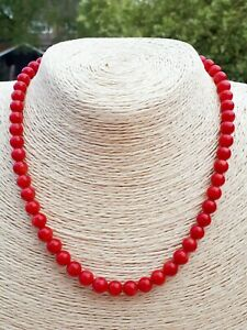 Ladies Necklace Shiny Red Coral Gemstones14K Gold Filled FQli Handmade New 16""
