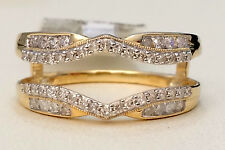 Solitaire Enhancer 0.73ct Diamonds Ring Guard Wrap Jacket Yellow Gold Milgrain