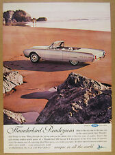 1962 Ford THUNDERBIRD T-Bird Convertible beach color photo vintage print Ad