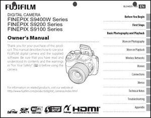 FujiFilm FinePix S9100 S9200 S9400W Digital Camera User Guide Instruction Manual