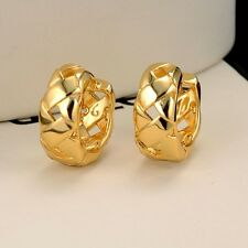 Unique Women's Earrings 18k Yellow Gold Filled 15mm Fashion Hoop Charms Jewelry