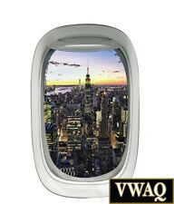 Airplane Window City Skyline View Peel and Stick Wall Decal Aviation VWAQ-PW3