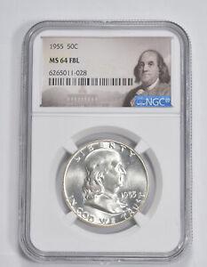 MS64 FBL 1955 Franklin Half Dollar - 90% SILVER - - NGC Graded *317