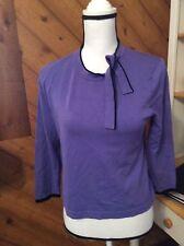 Evie Petite - Purple & Black Tie neck Pull on SWEATER 3/4 sleeve size M P