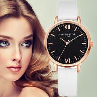 Fashion Women Stainless Steel Leather Analog Quartz Girl Dial Dress Wrist Watch