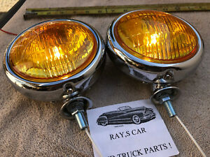 NEW PAIR SMALL AMBER VINTAGE STYLE FOG LIGHTS IN 6 - VOLTS !