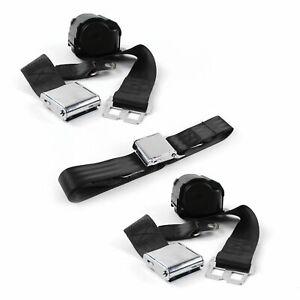 Ford 1955 - 1956 Airplane 2pt Black Retractable Bench Seat Belt Kit - 3 Belts