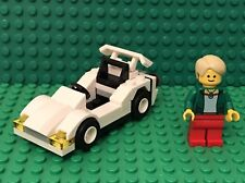 Lego Prebuilt MOC White Sports Race Car With Spoiler And Bank Teller Mini Figure