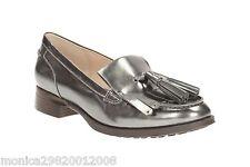 Clarks Argent Cuir Mocassin Chaussures Taille UK6 EUR39 D