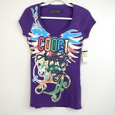 Coogi Womens T-Shirt Purple Tee Scoop Neck Short Sleeve Rhinestones Sz M
