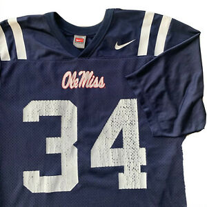 vintage team nike Ole Miss rebels authentic football jersey mesh large #34