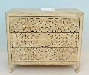 Indian Antique Wooden Hand Carved Dresser, Wood Chest 3 Drawer