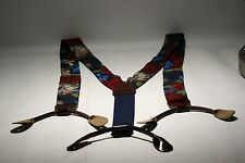 Vintage CAS Germany 100% Silk Suspenders Adjustable  Leather Tabs Nice
