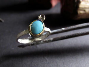 Combination 14K solid yellow gold & sterling silver ring with Turquoise
