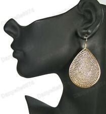 "2.5""BIG hammered BOHO TEARDROP tear EARRINGS pattern drop TEXTURED gold plated"