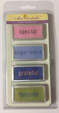 RECTANGLE WORD METAL RIMMED TAGS(4pc)Miss Elizabeth's•Grateful •Special•Favorite