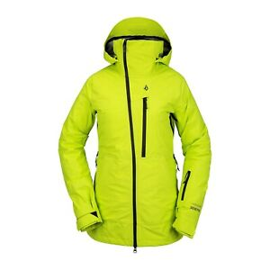 2021 NWT WOMENS VOLCOM NYA TDS INF GORE-TEX SNOWBOARD JACKET $620 S Lime 3 layer