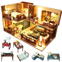 DIY Dollhouse LED Light Wooden 3D Miniature Furniture Doll House Kids Toys Gift