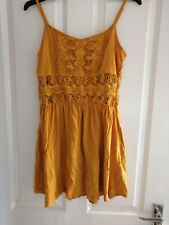 Atmosphere Primark Mustard Yellow Cut Out Waist Skater Dress UK 10