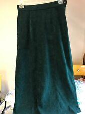 Talbots Dark Green Microfiber Moleskin A-Line Maxi Skirt Sz 4 EUC