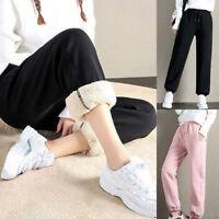 Women's Sweatpants High Waist Velvet Casual Pants Loose Thick Warm Trousers